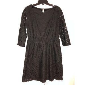 Xhilaration Black Floral Lace Dress M